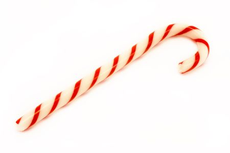 red striped candy cane isolated over white