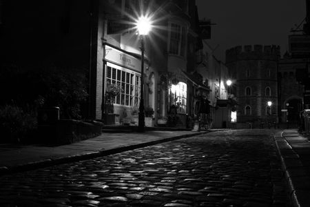 black and white cobbled street view photo