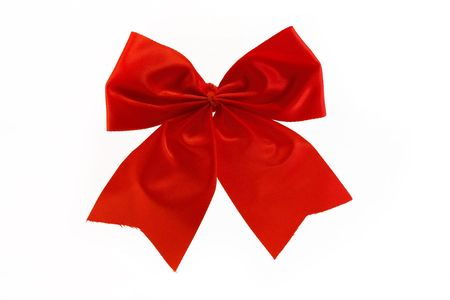 single red bow isolated over white Stock Photo - 8258804