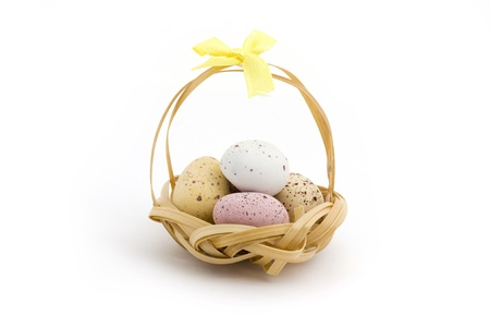 Basket of candy coated chocolate easter eggs over white Stock Photo - 9308027