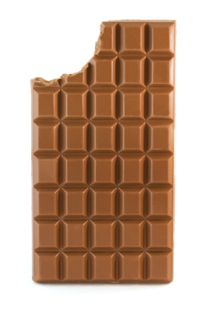 chocolate bar: Milk chocolate bar with missing bite isolated over white