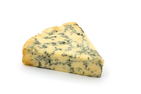 calorific: Blue cheese isolated on white Stock Photo