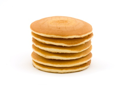 hotcakes: Stack of pancakes isolated on white