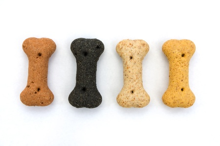 treat: Line of dog biscuits over white
