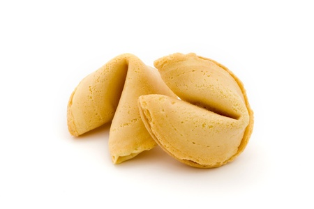 Two fortune cookies isolated on white Stock Photo
