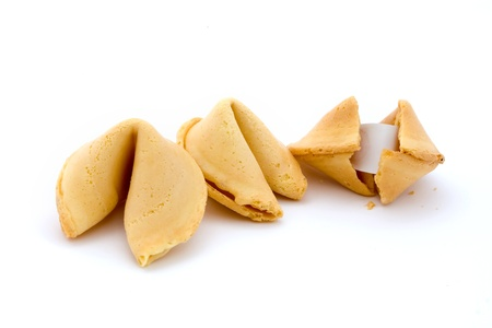 Three fortune cookies isolated on white