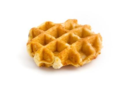 Home made fresh waffle isolated on white