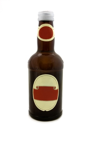 Brown bottle with a blank red label isolated on white photo