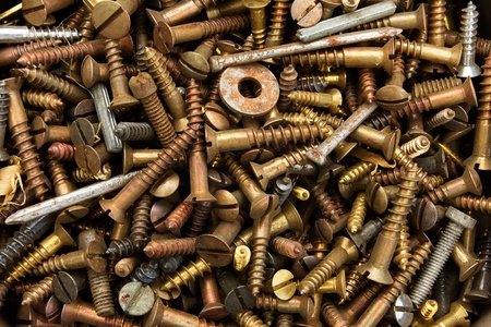 Background of old rusty screws and bolts Stock Photo - 9680527