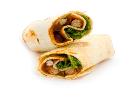 BBQ chicken wrap isolated on white Stock Photo