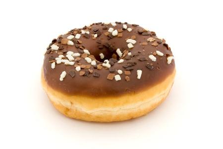 Chocolate doughnut isolated over white Stock Photo