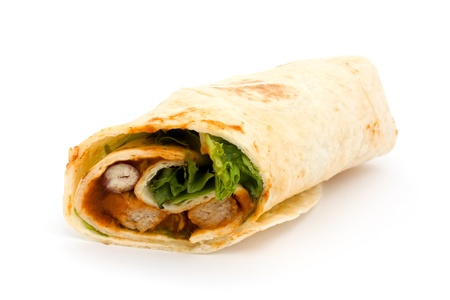 wrap: BBQ chicken wrap isolated on white Stock Photo