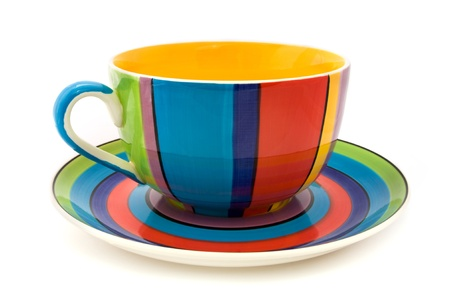 stripy: Stripy cup and saucer isolated on a white background