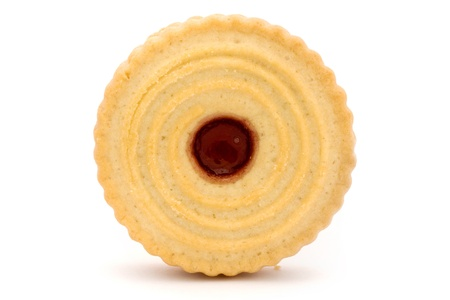 Single jam filled biscuit isolated on white photo