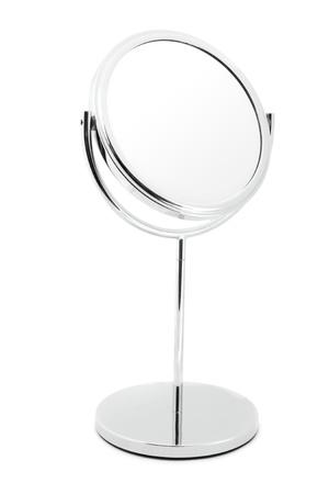 Silver mirror isolated on white Stock Photo