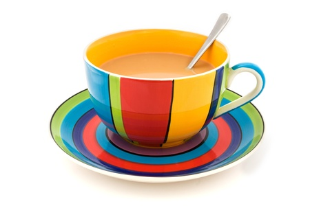 Stripy cup and saucer isolated on a white background Stock Photo - 9949228