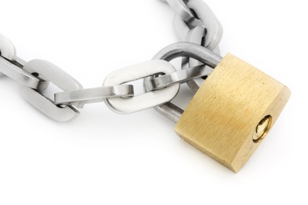 Padlock and chain isolated on white