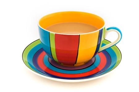 Stripy cup and saucer isolated on a white background