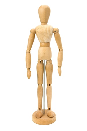 Wooden artists Mannequin over white
