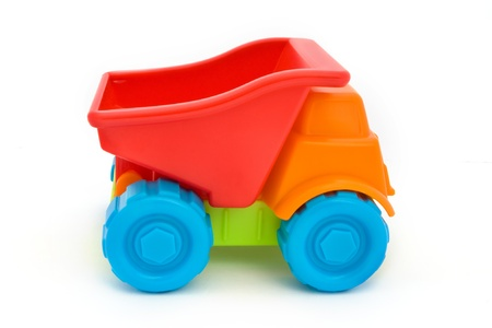 Colorful toy truck isolated on a white Stock Photo
