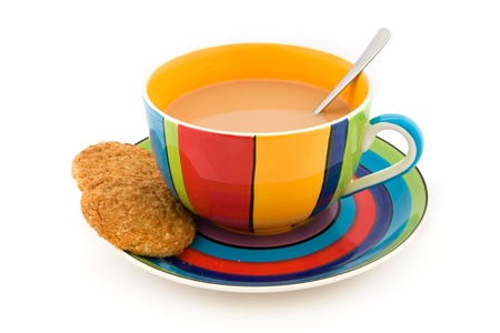 Stripy cup and saucer with two biscuits isolated on white Stock Photo - 10485019