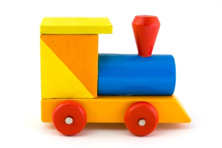 Wooden toy train isolated on white Stock Photo