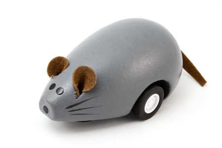 Wooden toy mouse isolated on white