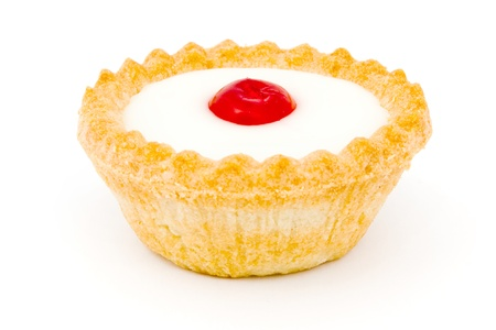 Bakewell tart on a white background Stock Photo