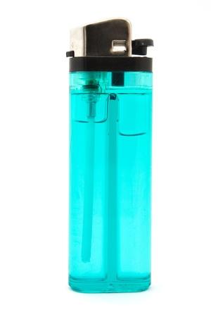 Single blue cigarette lighter over white