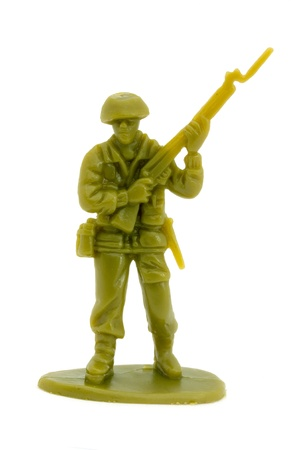 plastic soldier: Plastic toy soldier over white
