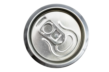 unopened: Top view of an unopened drinks can over white Stock Photo