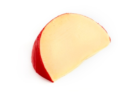 edam: Edam cheese slice isolated on white