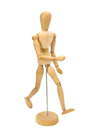 male mannequin: Wooden artists Mannequin over white