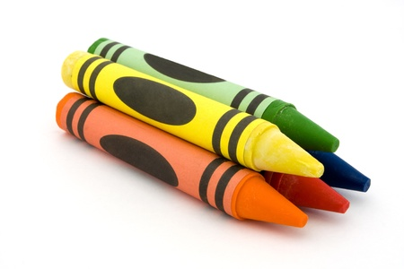 Pile of crayons over white Stock Photo
