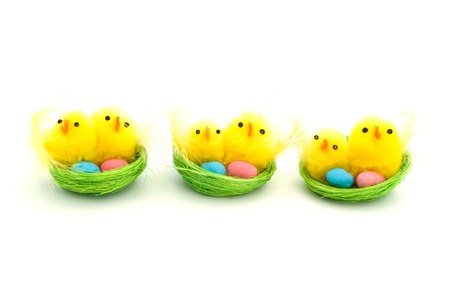 Three easter chicks in a green nest Stock Photo - 13043078