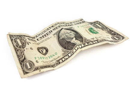 Old dollar bill on a white background
