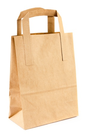Empty brown paper bag over white photo