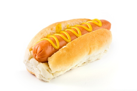 mustard: Hot dog with mustard on a white background Stock Photo