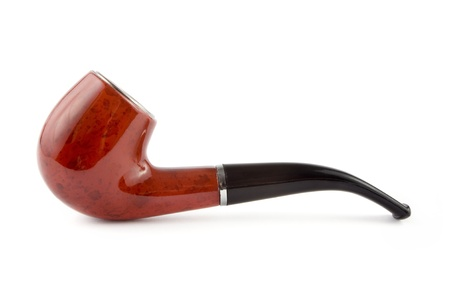 Tobacco pipe on a white  background photo