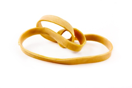 rubber bands: Single rubber band on a white background