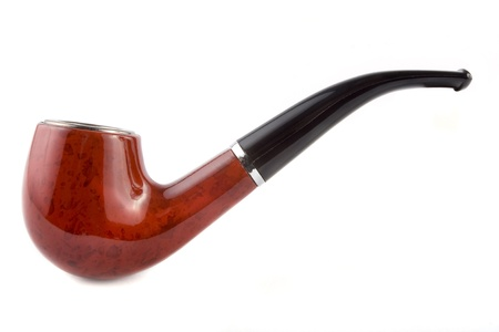 pipe smoking: Tobacco pipe on a white  background