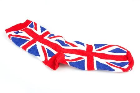 Single Union Jack sock over white Stock Photo - 13892741