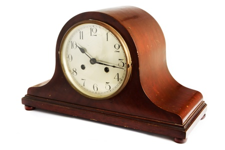 Antique wooden clock on a white background Stock Photo - 14510382