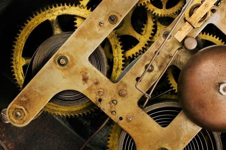clock gears: Old clock mechanism background Stock Photo