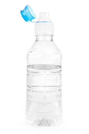 Plastic water bottle on a white background