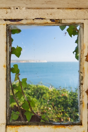 View of the sea through an old rusty ivy covered window