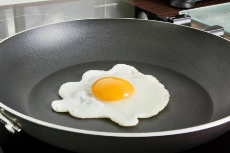 Egg frying in a frying pan on a ceramic hob