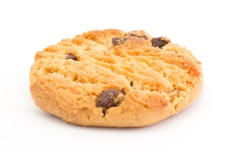 un healthy: Single chocolate chip cookie over white