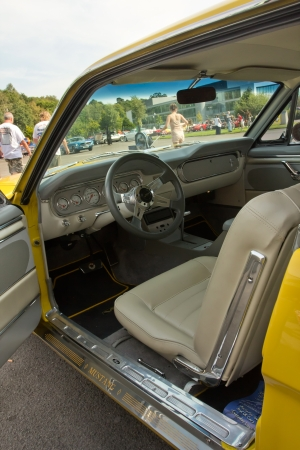 WEYBRIDGE, SURRY, UK - AUGUST 19   An interior view of a yellow Ford Mustang  on show at Brooklands Motor Museum Mustang Meet in August 2012  Editorial