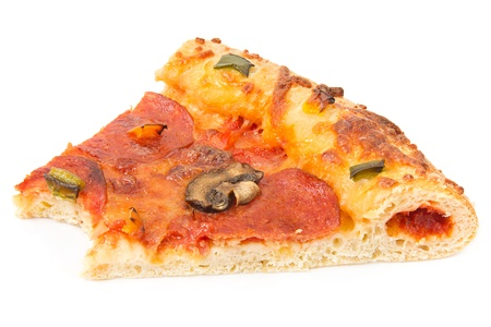 un healthy: Slice of pizza with a missing bite over white